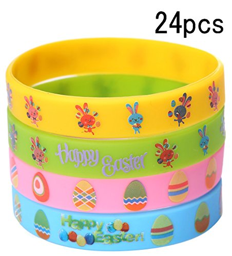 (Moon Boat Easter Day Rubber Silicone Wristbands Bracelets - Bunny Egg Fillers Basket Stuffers Party Decorations)