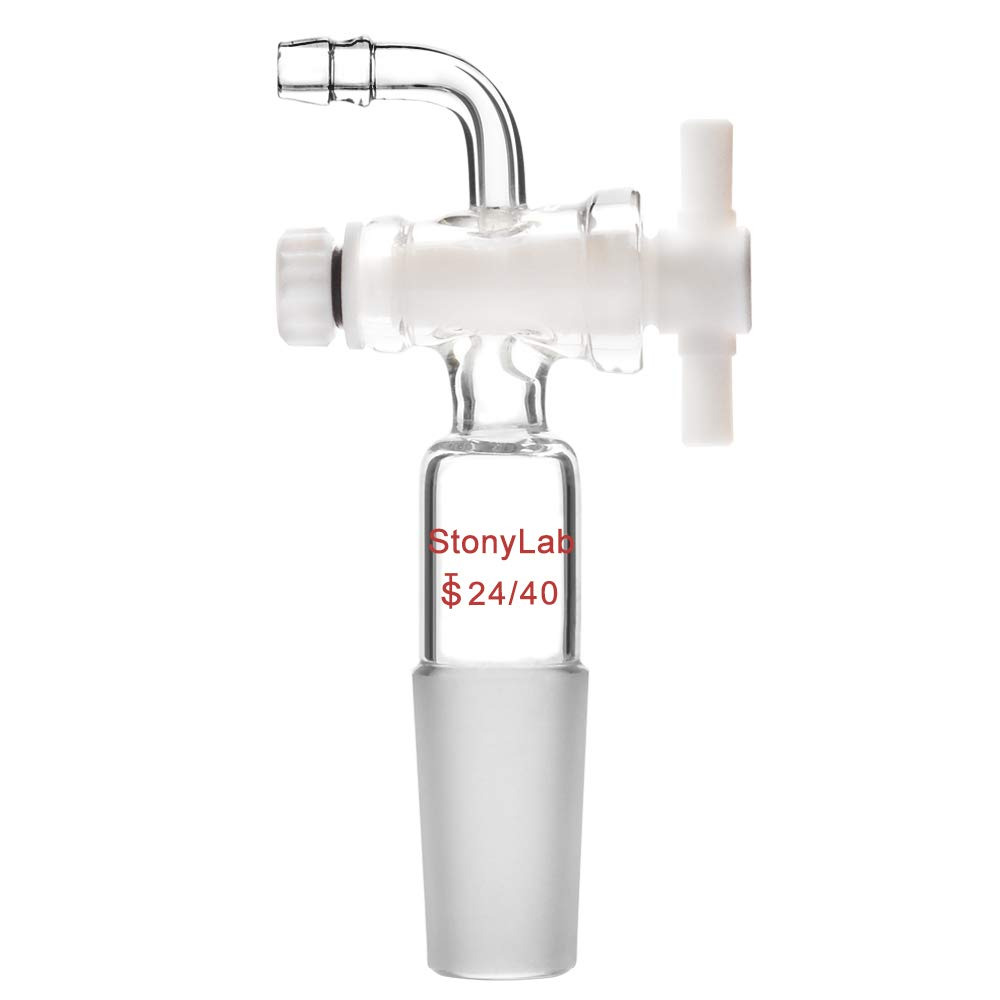 StonyLab Vacuum Flow Control Adapter with PTFE Stopcock, 24/40 Joint and Bent Hose Connection for Lab Supply