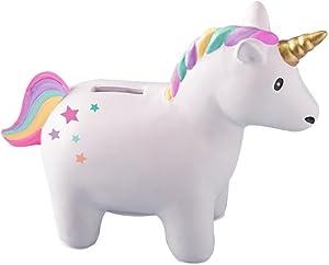 Two's Company Rainbow Unicorn 6 x 5 Inch Ceramic Coin Bank in Gift Box