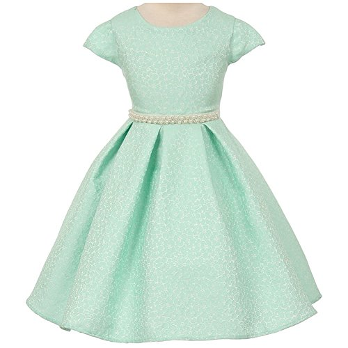 Metallic Jacquard Dress with Pearls Waistband Mint - Size 8 (Metallic Jacquard)