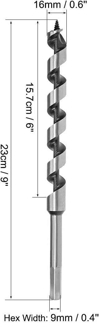 uxcell Auger Drill Bit Wood Hex Shank 16mm Cutting Dia High Carbon Steel for Electric Bench Drill Woodworking Carpentry