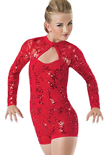 Balera Biketard Girls One Piece For Dance Womens Stretch Lace And Sequin Costume Red Adult Small