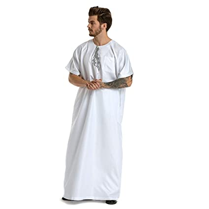 29fc7da2f2ce Buy aliveGOT Muslim Solid Business Saudi Arabic Thobe Short Sleeve Robe  Medium White Online at Low Prices in India - Amazon.in