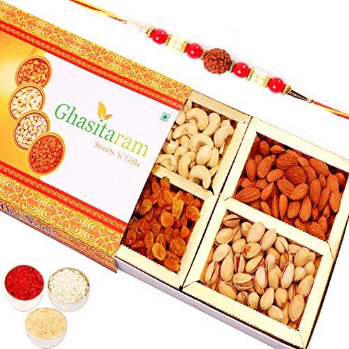 Ghasitaram Gifts Orange Dryfruit Box 200 gms with Rudraksh Rakhi