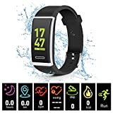 Kirlor Fitness Tracker, Waterproof Color Screen Smart Bracelet with Heart Rate Blood Pressure Monitor,Smart Watch Pedometer Activity Tracker Bluetooth for Android & iOS (Black)