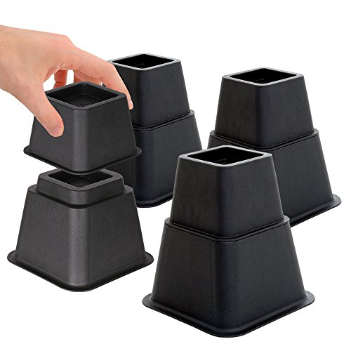 DuraCasa Adjustable Bed Risers or Furniture Riser in Heights of 8, 5 or 3 Inches Heavy Duty Set of 4 by DuraCasa