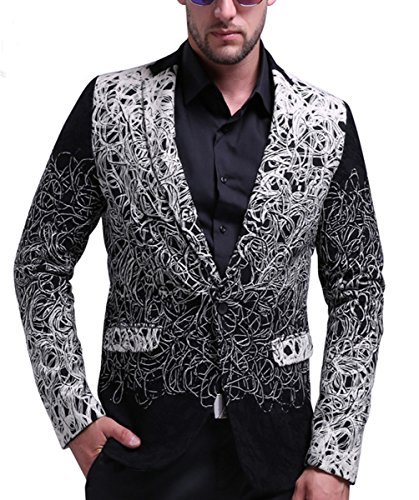 MOGU Herren One Button Blazer Wolljacke