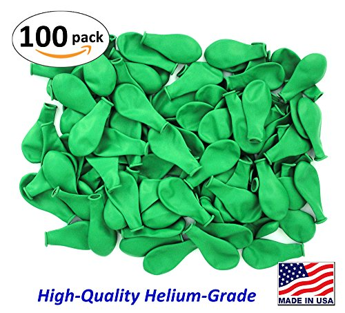 Pack of 100, Bright Green Color Latex Balloons, MADE IN USA!