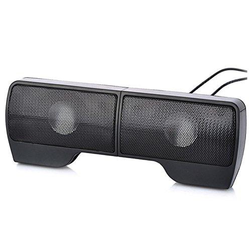 SODIAL Portable Clip-On USB Powered Stereo Speaker Soundbar