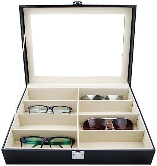 Caja de almacenamiento de 8 ranuras de piel sintética para gafas ...