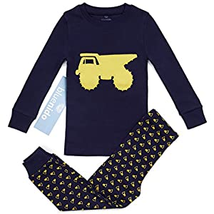 "100% Cotton ""dump Truck"" Boys 2 Piece Pajama Set (size 12m-7y) +2 Free Gifts!!"