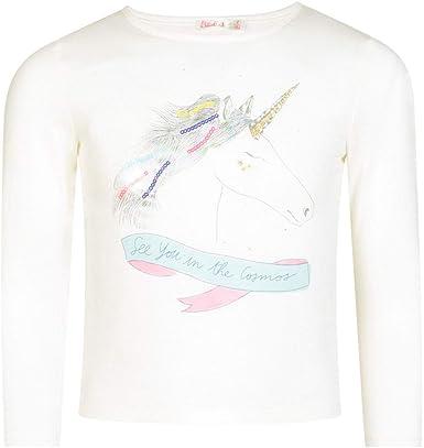 Billieblush U15678 - Camiseta de Manga Larga para niña, diseño de Unicornio, Color Marfil: Amazon.es: Ropa y accesorios