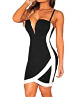 Sexy Womens Black-White Color-Block Plunging Arched Mini Dress