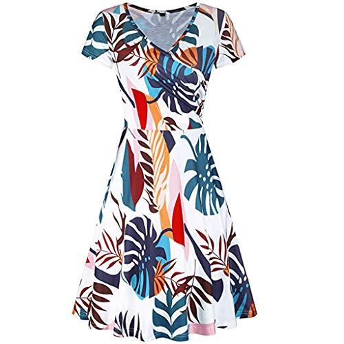 LONGDAY Women Summer Mini Dress Beach Sundress Casual Floral Shirt Short Sleeves Wrap V-Neck Tunic Top Pockets Swing White]()
