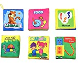 iMagitek Baby's Non-Toxic Soft Fabric Cloth Book Set - Includes Learning Shapes Number Cute Animals Color Character Food Fabric Books - Preschool Learning Activity Intellectual Development - Pack of 6