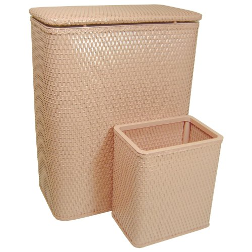 Redmon Chelsea Collection Hamper with Matching Square Wastebasket, Tea Rose, 24 Piece
