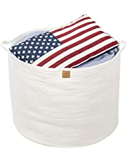 "Queen's Home XXXLarge Cotton Rope Basket 22""x22""x18"" White Woven Round Basket with Handles Large Baby Nursery Organizer Storage Collapsible Laundry Basket for Kids Toy Towel Blanket Doll Ball Diaper"