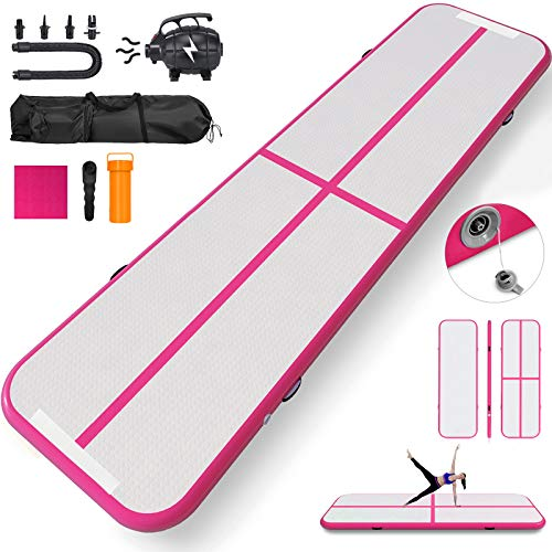 Happybuy 10ft 13ft 16ft 20ft 23ft 26ft 30ft Air Track 8 inches Airtrack 4 inches Inflatable Air Track Tumbling Mat for Gymnastics Martial Arts Cheerleading Tumble Track with Pump Pink 17ft 40x4in