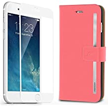 iPhone 6s Case, rooCASE [Prestige Folio] iPhone 6s Wallet Case Folio Flip Cover Card Holder with Full Screen Cover Tempered Glass (White Edge) for Apple iPhone 6s / 6 (2015), Pink