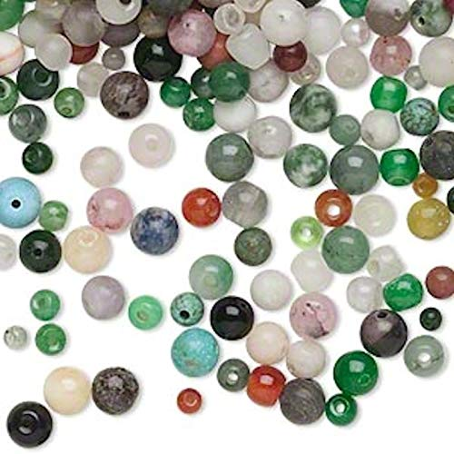 1/4 Pound Multi-Gemstone & Glass Bead Mix ~ 3-6mm Rounds Multicolored ~ 790 Perfect for Earrings, Necklaces or Bracelets