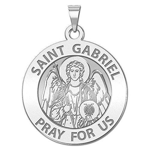 Custom Engraved Saint Gabriel Religious Medal - 3/4 Inch Size of a Nickel -Solid 14K Yellow (Gold Saint Gabriel Medal)