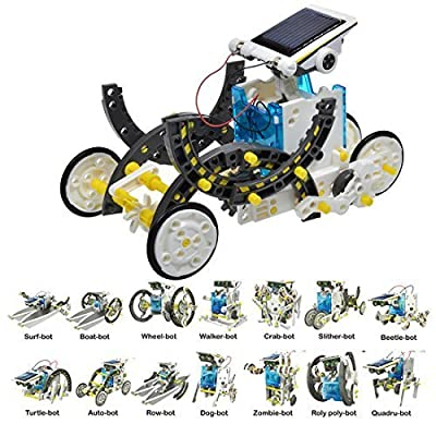 iLoonger 14-in-1 Solar Robot Assembly Rechargeable Kids Learning Toy Kit Educational Gift Mechanics Robotics