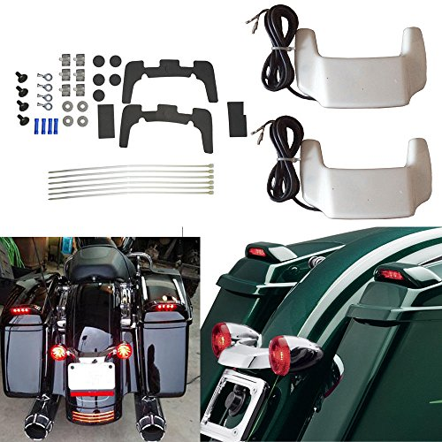 - BBUT Unpainted White Hard Saddlebag Lid W/LED Spoiler Kit For Harley Touring Saddle Bags 1993 1994 1995 1996 1997 1998 1999 2000 2001 2002 2003 2004 2005 2006 2007 2008 2009 2010 2011 2012 2013