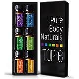 Aromatherapy Top 6 Essential Oils - Therapeutic grade - with Lavender, Tea Tree, Eucalyptus, Sweet Orange, Lemongrass...