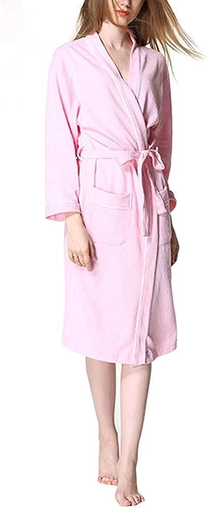 LINDANIG Albornoz de algodón hasta la Rodilla para Mujer Albornoz de baño más Grande Albornoz Ligero