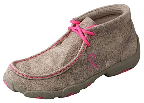 Twisted X Boots Children's YDM0007 Cowkid's Driving Moc,Dustry Tan/Neon Pink,US ()