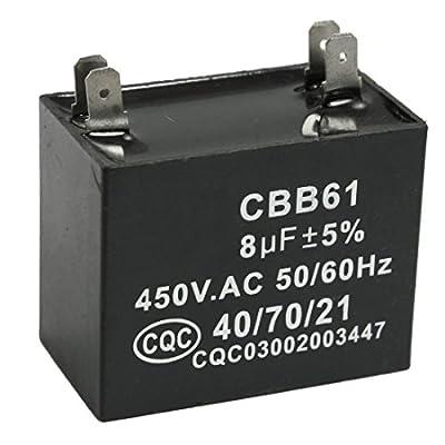 TOOGOO(R) CBB61 8uF 450V AC 50/60Hz Air Conditioner Fan Motor Running Capacitor