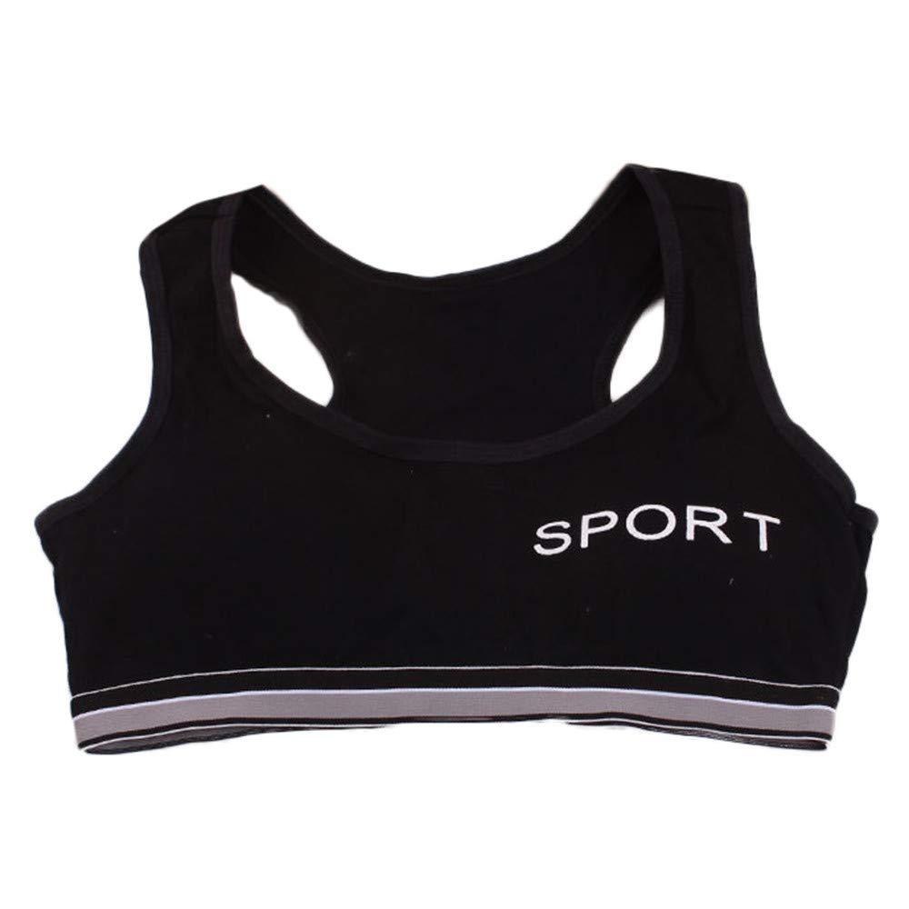 KONFA Teen Big Girls Underwear Seamless Sports Racerback Bra,for 10-14 Years,Kids Training Crop Bras Vest Top Undershirt Set (Black, 10-14 Years)