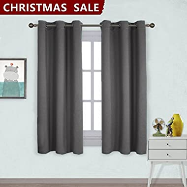 Nicetown Grommet Top Blackout Curtains for Bedroom (2 Panels, W42 x L63 -Inch, Gray)