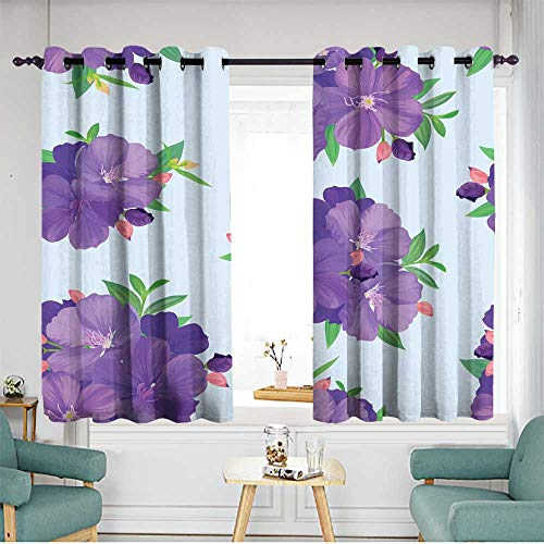 Fbdace Grommet Curtains Seamless Pattern with Beautiful Purple Princess Flower or tibouchina urvilleana and Leaf on Blue Background Insulated with Grommet Curtains for Bedroom W 63