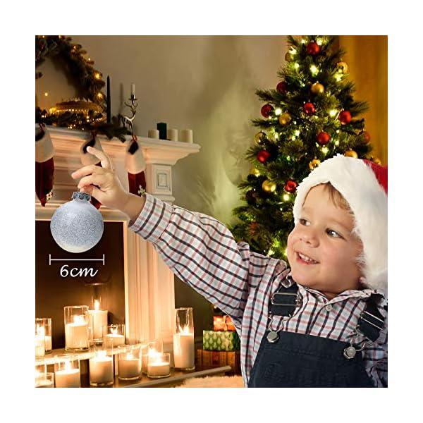 Joyjoz Decorazioni Albero di Natale Palline di Plastica, 6 cm di Diametro Palla di Natale Lucido riempita con Decorazioni Natalizi Raffinati Set 24 Pezzi 4 spesavip