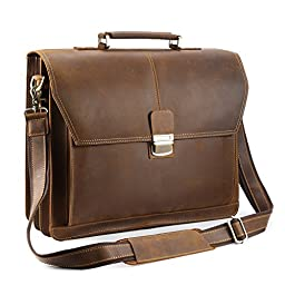 Kattee Vintage Top Leather Briefcase Messenger Bag with Push Button