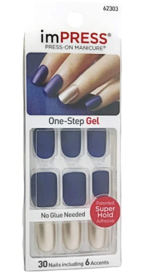 Kiss Impress Short Length Navy Blue Matte Nails 62303 Bells Whistles By Broadway Press On Manicure Nails