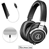 Audio-Technica ATH-M70x Professional Studio Monitor Headphone PLUS Blucoil AQUA Portable In-Line DAC and Amplifier - iPhone Lightning Adapter​