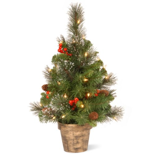 National Tree 2 Foot Crestwood Spruce Tree with Silver Bristle, Cones, Red Berries, 35 Clear Lights in Bronze Pot (Lit White Spruce Christmas Tree)