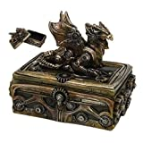 Tuweep Steampunk Dragon Container Jewelry Box with Lid Sculpture Cyborg Robotic Decor