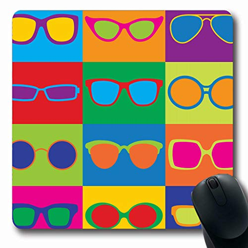Ahawoso Mousepads Pattern Styled Generic Eyeglass Sunglasses Eye Frames Eighties Oblong Shape 7.9 x 9.5 Inches Non-Slip Gaming Mouse Pad Rubber Oblong Mat