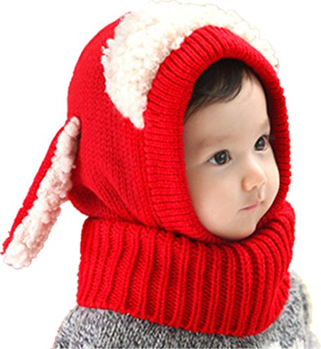 Warm Baby Boys Girls Hat Scarf Set Cute Knitted Cotton Hats(Red) - 3