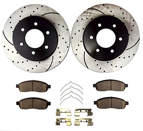 Atmansta QPD10039 Front Brake kit with Drilled/Slotted Rotors and Ceramic Brake pads for Ford F-150 Lincoln Mark LT