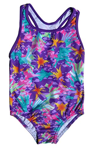 (Speedo Girls Jungle Floral Racerback One Piece Swimsuit Multi Size 8)