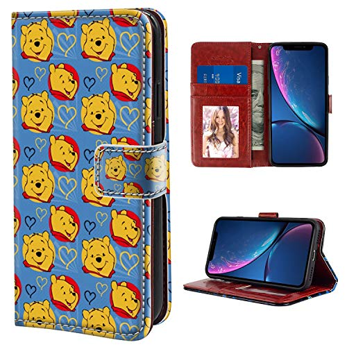 (DISNEY COLLECTION Wallet Case Compatible iPhone Xr Winnie The Pooh Premium PU Leather Flip Case Cover with Card Slots & Kickstand for iPhone Xr)