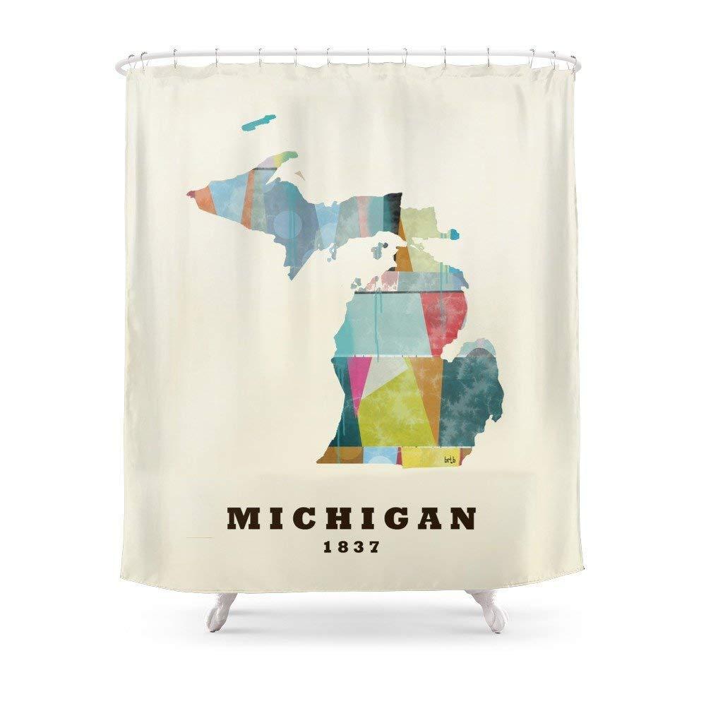 Amazon MAOXUXIN Michigan State Map Modern Shower Curtain 60 By 72 Home Kitchen