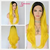 Cheap Sapphirewigs Black Ombre Yellow Color Glueless Daily Makeup Synthetic Lace Front Wigs