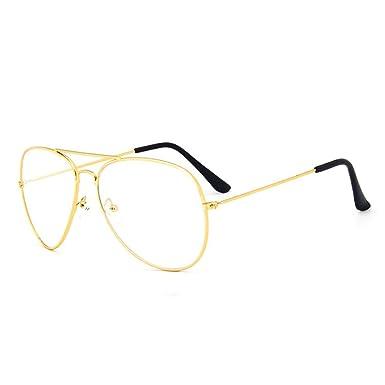 0f9a9de32b6b Dawnzen Aviator Metall Briller Clear Lens Gold Glasses Retro Vintage Stil  Eyewear Pilot Glasses reg   Amazon.de  Bekleidung