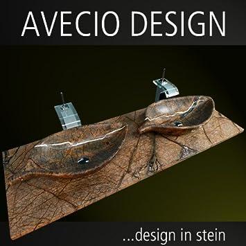 Doppelwaschbecken modern maße  IMPOSANTER AVECIO NATURSTEIN BLATT DOPPELWASCHTISCH! MODERN UND ...