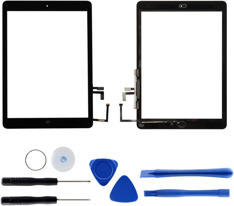 Touch Screen Digitizer Replacement for iPad air 1st Generation A1474 A1475 A1476 GSM CDMA, 9.7 Inches Front Glass Repair Kit Include Home Button and pre-Install Adhesives (Black)